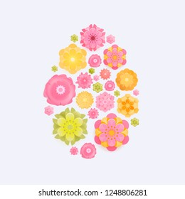Easter card with paper cut spring flowers in egg shape frame isolated on white background. Vector illustration. Place for your text. Green, Yellow, pik.