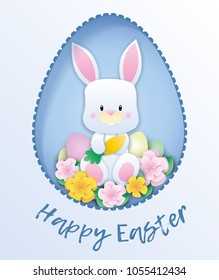 Easter card with paper rabbit. Vector.
