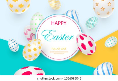 Easter card with round frame, white decorated 3D decorative eggs on colorful modern geometric background. Vector illustration Place for your text.