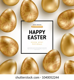 Easter card with square frame and gold ornate eggs on white background. Vector illustration. Place for your text. Golden floral pattern