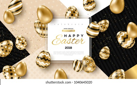 Easter card with square frame, gold ornate eggs and confetti on colorful modern geometric background. Vector illustration. Place for your text.