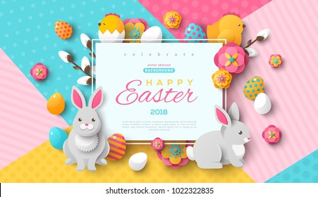 Easter card with square frame, spring flowers and flat icons on colorful modern geometric background. Vector illustration. Place for your text.