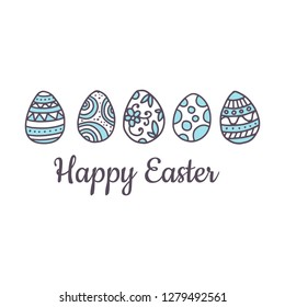 Easter card template, decorated eggs with patterns, vector illustration isolated on white background