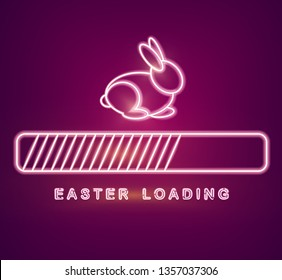 Easter card Vector with neon rabbit loading symbol. Spring holidays