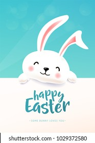 Easter card with white cute funny smiling rabbit. Cartoon easter bunny wishing spring holiday. Copy space. Vector illustration