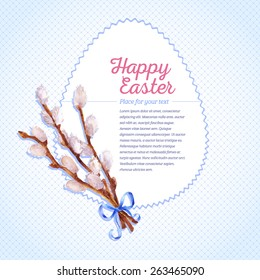 Easter card. Willow twigs and bow painted in watercolor. A template for your invitation, postcards, cards and so on.