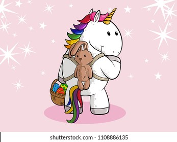 Easter cartoon unicorn with easter eggs