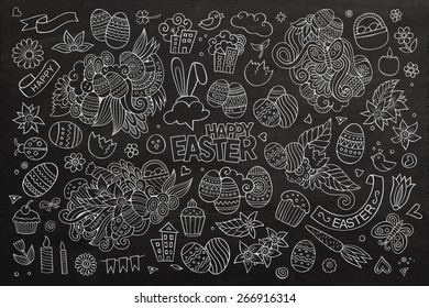 Easter chalkboard hand drawn vector symbols and objects