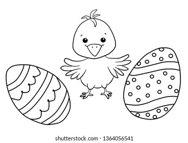 Easter chicken and eggs. Black and white vector illustration for coloring book. Vector drawings set isolated on white background.