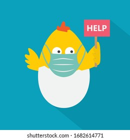 easter chicken in a eggshell wearing face medical mask with help signboard- vector illustration