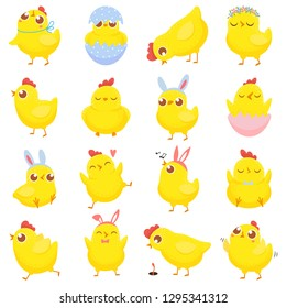 Easter chicks. Spring baby chicken, cute yellow chick and funny chickens. Newborn chicks birds character in eggs shell. Isolated cartoon vector illustration icons set
