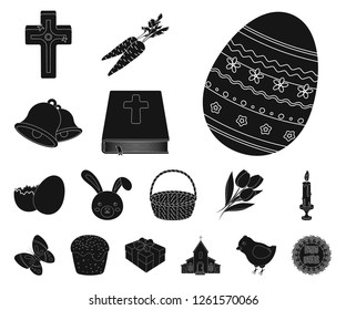 Easter is a Christian holiday black icons in set collection for design. Easter attributes vector symbol stock web illustration.