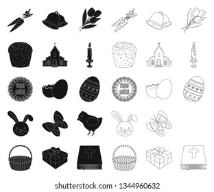Easter is a Christian holiday black,outline icons in set collection for design. Easter attributes vector symbol stock web illustration.