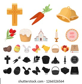 Easter is a Christian holiday cartoon, black icons in set collection for design. Easter attributes vector symbol stock web illustration.