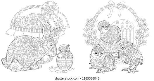 Easter. Coloring Pages. Coloring Book for adults. Colouring pictures with bunny and chickens drawn in zentangle style. Vector illustration.