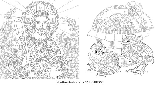 Easter. Coloring Pages. Coloring Book for adults. Colouring pictures with Jesus and chickens drawn in zentangle style. Vector illustration.
