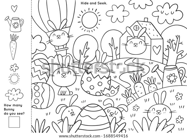 Easter Coloring Pages Printable Worksheet Easter Stock Vector Royalty Free 1688549416