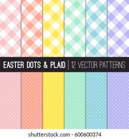 Easter Colors Pixel Gingham and Tiny Polka Dots Vector Patterns. Modern Pastel Shades of Pink, Coral Orange, Yellow, Turquoise, Blue and Lavender Purple. Pattern Tile Swatches Included.