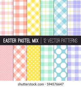 Easter Colors Polka Dots, Gingham and Tartan Plaid Vector Patterns. Pastel Shades of Pink, Coral Orange, Yellow, Turquoise, Blue and Lavender Purple. Pattern Tile Swatches Included.
