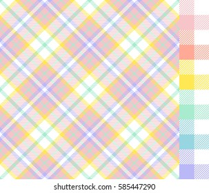 Easter Colors Tartan Plaid and Gingham Seamless Vector Patterns. Pastel Shades of Yellow, Turquoise, Blue, Lavender Purple, Pink and Coral Orange. Pattern Tile Swatches Included.