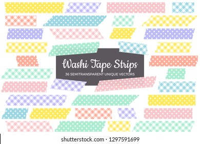Easter Colors Washi Tape Strips with Torn Edges in Pastel Rainbow Polka Dot and Gingham Patterns. 36 Unique Semitransparent Vectors. Photo Sticker, Print / Web Layout Element, Clip Art, Embellishment