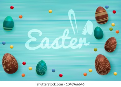 Easter composition with chocolate eggs on color wooden background, Easter greeting text with funny bunny ears. 3d render realistic vector illustration.