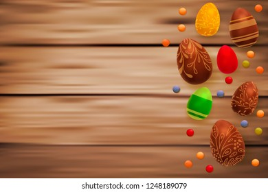 Easter composition with chocolate eggs on wooden background, space for text. 3d render realistic vector illustration