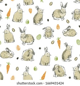 Easter cute hand drawn rabbit doodle seamless vector pattern