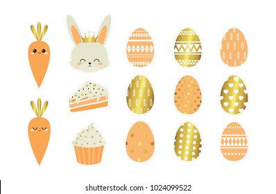 Easter. Cute pink and golden  easter eggs, rabbit, carrot, cake and cupcake.  Holiday. Vector set of Cartoon badges, cute  stickers. Patch or fashion pin badges.