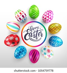 Easter Day banner template with Colorful Painted Easter Eggs.Easter eggs with different texture on white background.Vector illustration EPS10