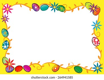 Easter Day border with yellow background
