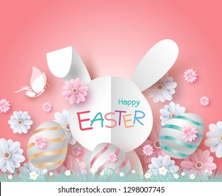 Easter day card design of paper bunny and flowers in the garden vector illustration