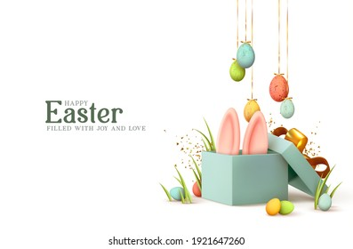 Easter day design. Realistic blue gifts boxes. Open gift box full of decorative festive object. Holiday banner, web poster, flyer, stylish brochure, greeting card, cover. Spring Easter background - Shutterstock ID 1921647260