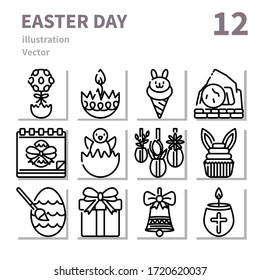Easter day icons set, outline symbol, Vector and illustration Set 3