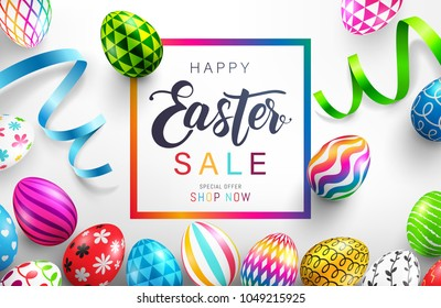 Easter Day Sale banner background template with Colorful Painted Easter Eggs.Easter eggs with different texture.Vector illustration EPS10