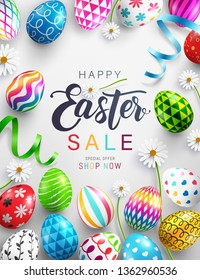 Easter Day Sale Poster or banner template with Colorful Painted Easter Eggs.Easter eggs with different texture.Vector illustration EPS10