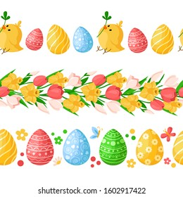 Easter Day seamless borders with colorful easter eggs, chickens, butterfly, spring flowers - yellow daffodil, pink tulip, snowdrop, endless bordure or brush on white - vector set for holiday design