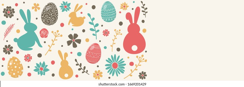 Easter decoration with colourful bunnies, eggs and flowers. Banner with copyspace. Vector