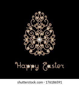 Easter decoration, vector jewelry gold egg decorated with diamonds, isolated on black, eps10