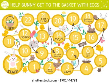 Easter dice board game for children with cute bunny and basket with eggs. Educational holiday boardgame with traditional symbols. Spring educational activity. Printable worksheet