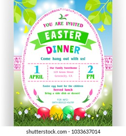 Easter dinner announcing poster template. Text for invitation with date, time, location. Four colorful eggs, ornaments and shining spring background with grass and flowers. Vector illustration.