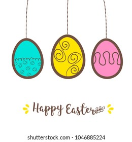 Easter doodled card with eggs in punchy pastels