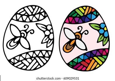 Easter egg with bee and flower with ornate pattern for coloring book for adult and design elements. Can be used for card, invitation, posters, texture backgrounds, placards, banners.