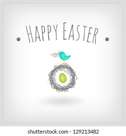 Easter egg in bird nest, greeting card