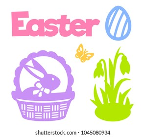 Easter egg, bunny, basket, snowdrop flower, butterfly. Easter icons. Set of spring silhouettes. Template for laser cutting, wood carving, paper cut and printing. Vector illustration for your design.