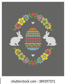 Easter egg. Easter bunny. Embroidery. Cross stitch. Vector.