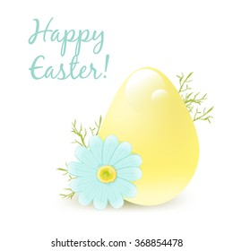 "Easter egg and chamomile. Vector illustration isolated on white background. Greeting Card  ""Happy Easter!""."