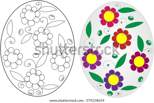 Easter Egg Coloring Book On White Stock Vector (Royalty Free) 379258654