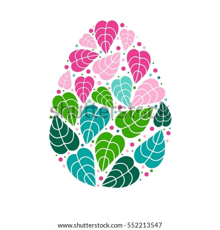 easter egg consist colorful leaves holiday stock vector royalty