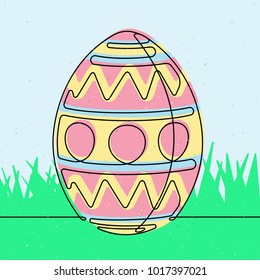 Easter Egg Continuous Line Vector